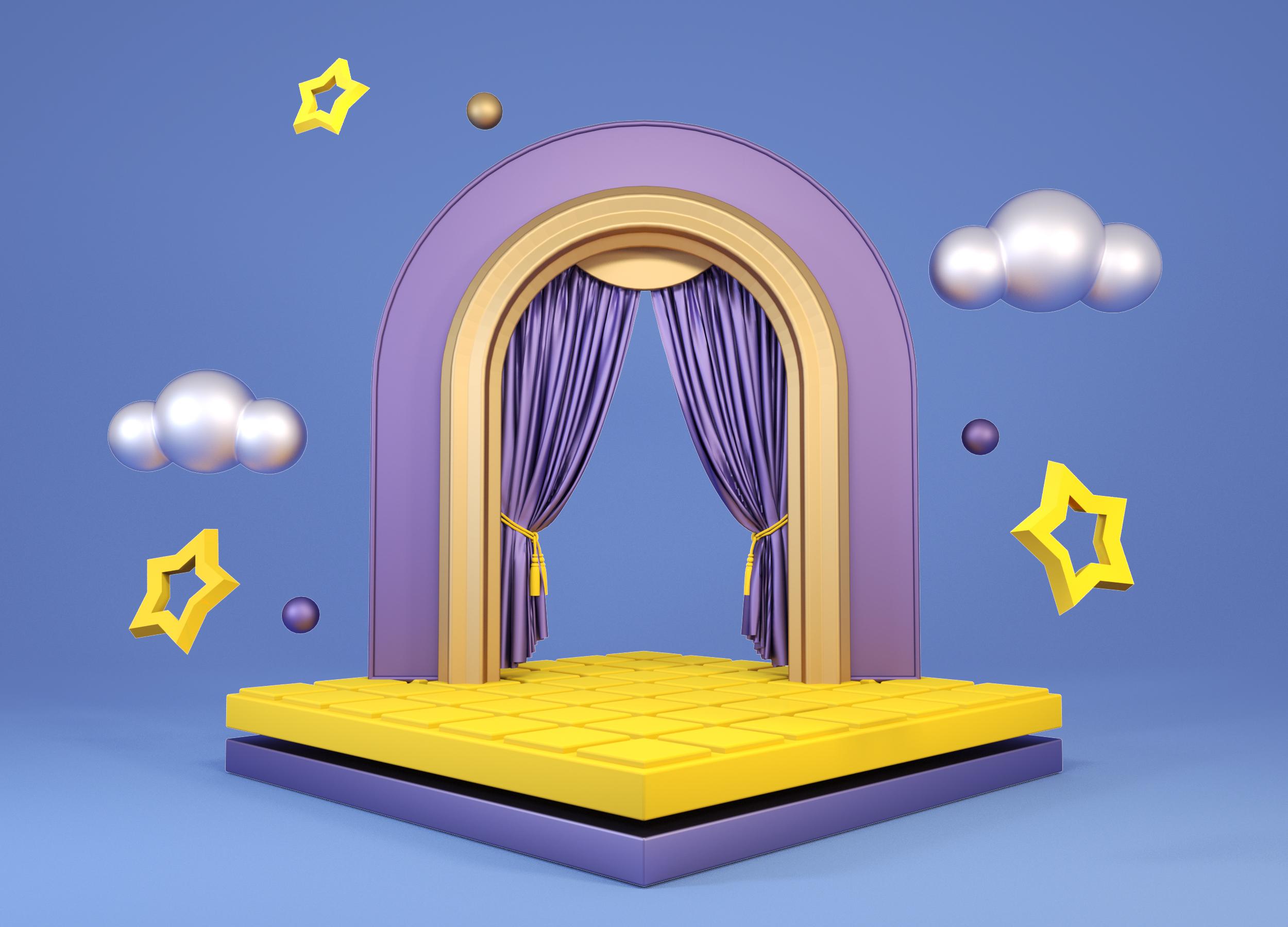 C4D装饰元素炫彩促销活动展台3d空间C4D装饰元素炫彩促销活动展台3d空间.jpg