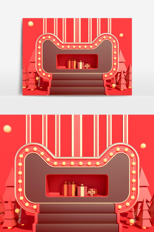 C4D模型电商天猫大促红色阶梯展台035.jpg
