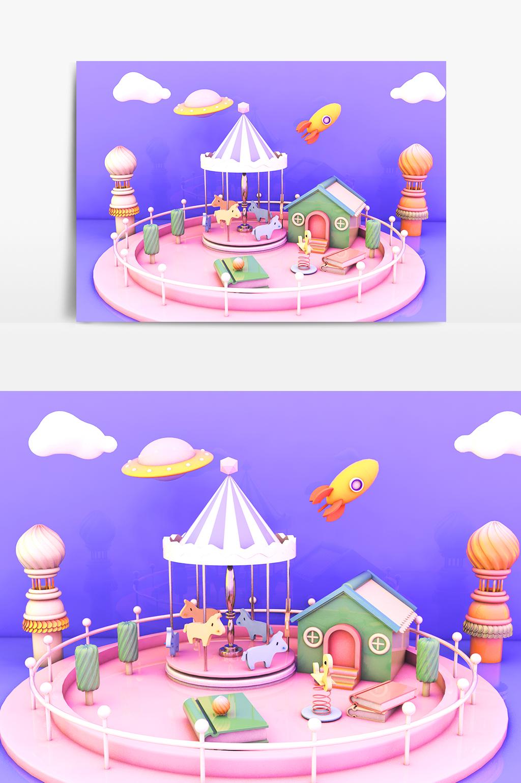 C4D模型创意儿童游乐场梦幻场景005.jpg