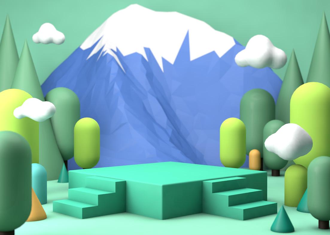 C4D模型森林绿色阶梯展台雪山背景003.jpg