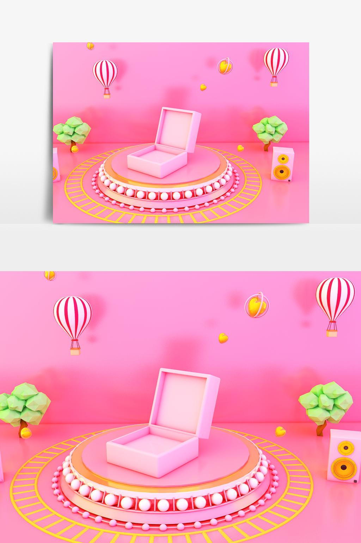 C4D模型粉色梦幻神奇神秘礼物盒子展台004.jpg