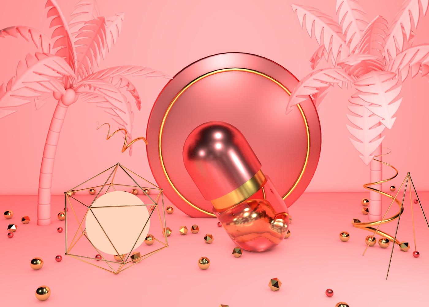 C4D模型时尚金色珊瑚红创意几何展台009.jpg