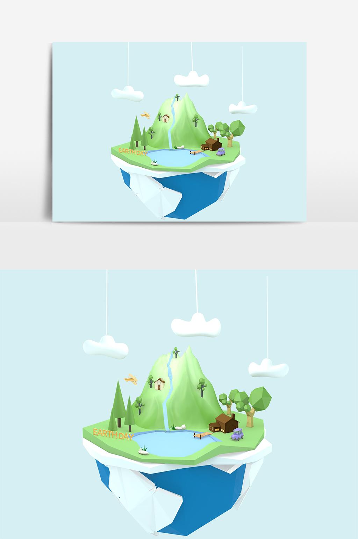 C4D模型绿色环保地球森林小岛悬浮场景013.jpg