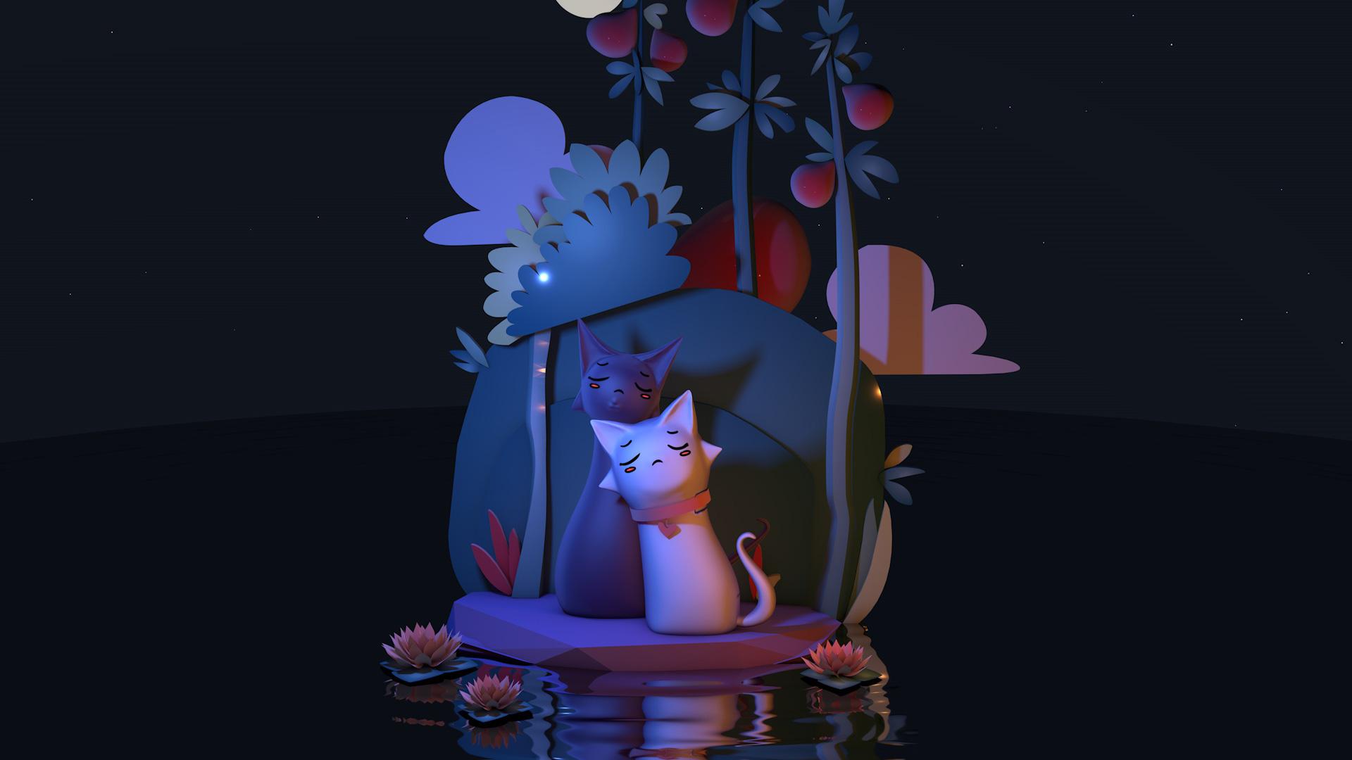C4D模型梦幻森林精灵猫咪荷塘夜色014.jpg