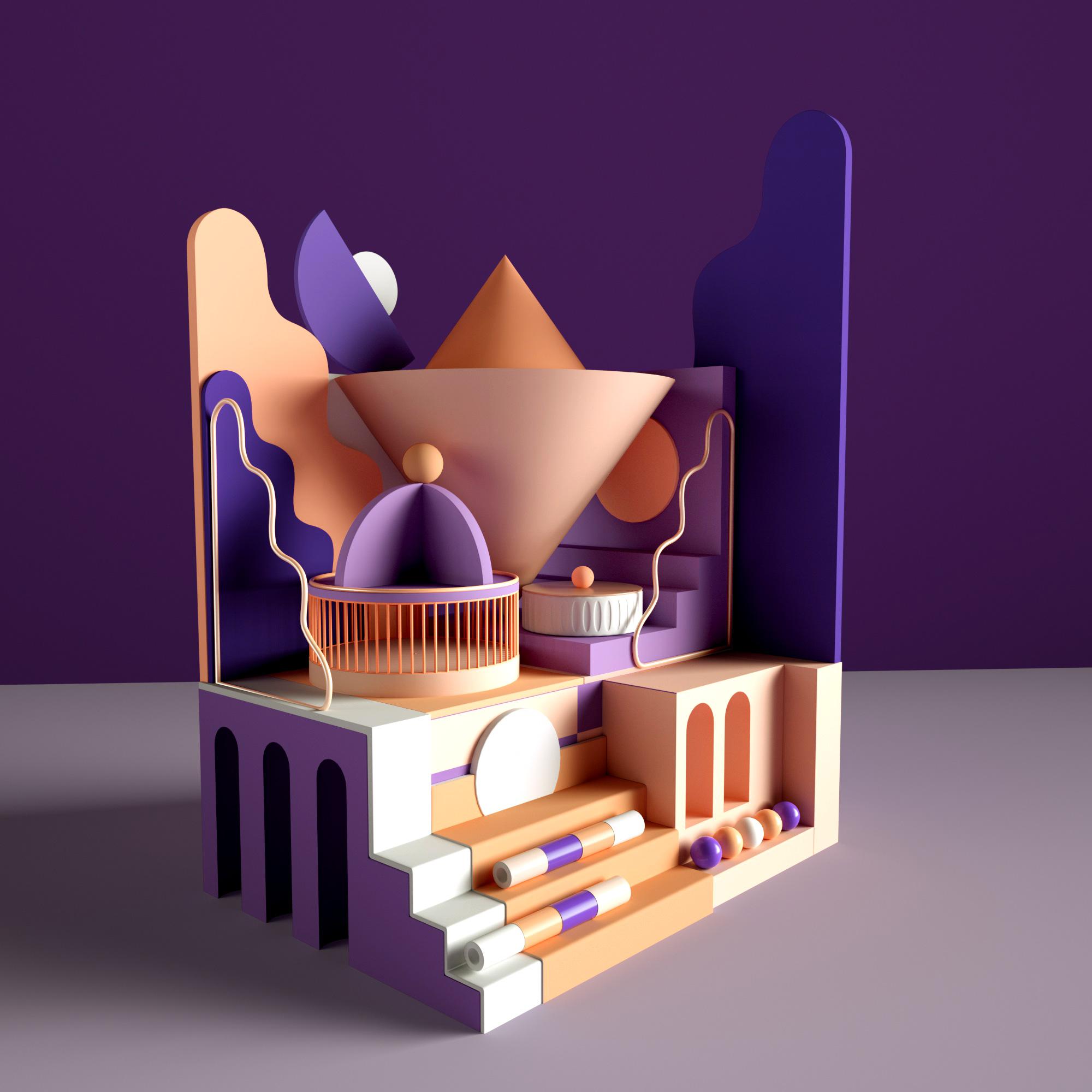 C4D模型创意炫彩几何搭建阶梯场景028.jpg