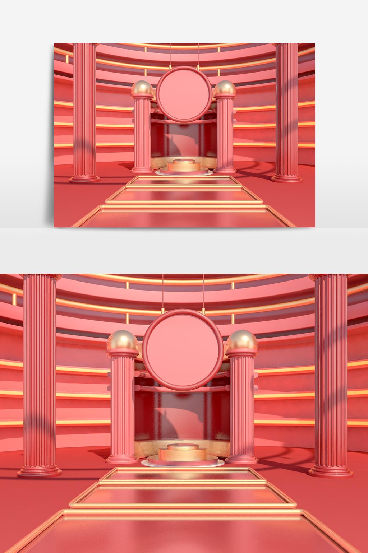 C4D模型电商促销展台金色元素042.jpg
