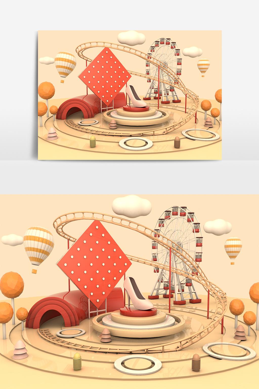 C4D模型创意过山车游乐场展台001.jpg