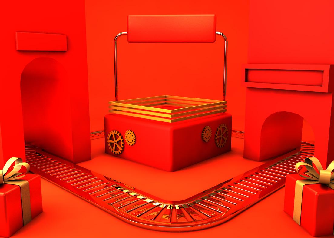 C4D模型红色创意展台空间运输礼物002.jpg